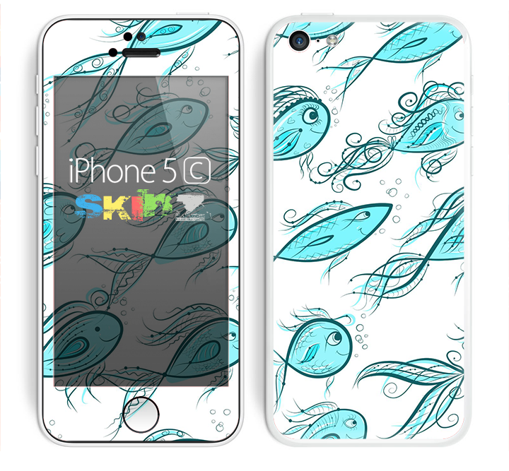 The Teal Fishies Skin for the Apple iPhone 5c