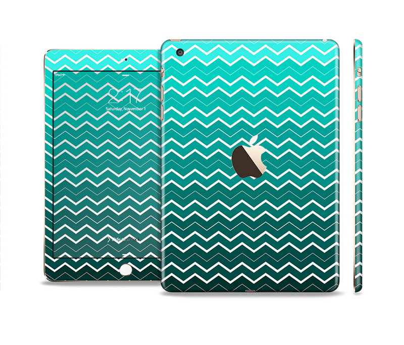 The Teal Gradient Layered Chevron Full Body Skin Set for the Apple iPad Mini 3