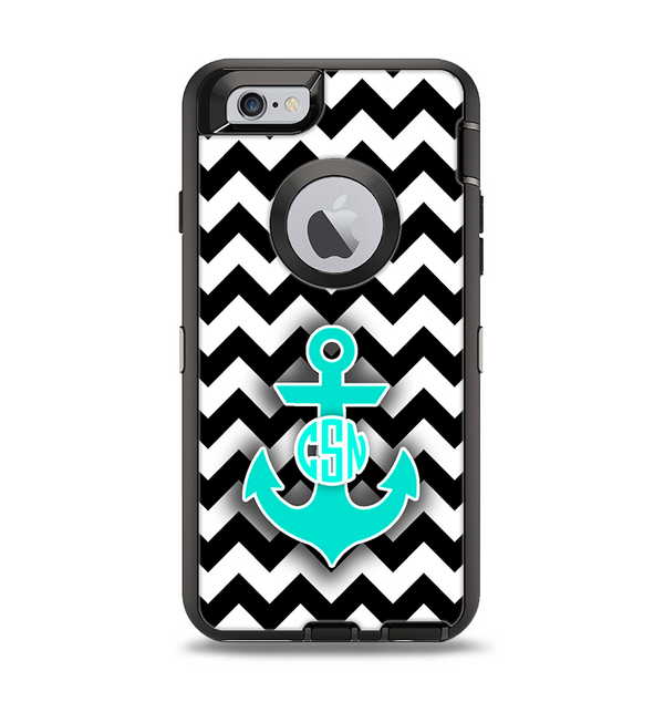 The Teal Green Monogram Anchor on Black & White Chevron Apple iPhone 6 Otterbox Defender Case Skin Set
