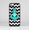 The Teal Green Monogram Anchor on Black & White Chevron Skin-Sert for the Apple iPhone 5c Skin-Sert Case