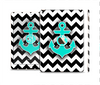 The Teal Green Monogram Anchor on Black & White Chevron Skin Set for the Apple iPad Pro