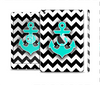 The Teal Green Monogram Anchor on Black & White Chevron Skin Set for the Apple iPad Mini 4