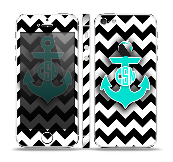 The Teal Green Monogram Anchor on Black & White Chevron Skin Set for the Apple iPhone 5