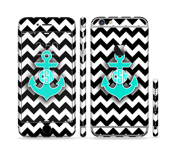 The Teal Green Monogram Anchor on Black & White Chevron Sectioned Skin Series for the Apple iPhone 6
