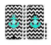 The Teal Green Monogram Anchor on Black & White Chevron Sectioned Skin Series for the Apple iPhone 6 Plus