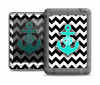The Teal Green Monogram Anchor on Black & White Chevron Apple iPad Air LifeProof Nuud Case Skin Set