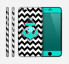 The Teal Green Monogram Anchor on Black & White Chevron Skin for the Apple iPhone 6