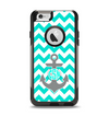 The Teal Green and Gray Monogram Anchor on Teal Chevron Apple iPhone 6 Otterbox Commuter Case Skin Set