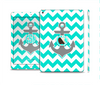 The Teal Green and Gray Monogram Anchor on Teal Chevron Skin Set for the Apple iPad Pro