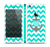 The Teal Green and Gray Monogram Anchor on Teal Chevron Skin Set for the Apple iPhone 5