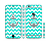 The Teal Green and Gray Monogram Anchor on Teal Chevron Sectioned Skin Series for the Apple iPhone 6 Plus