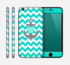 The Teal Green and Gray Monogram Anchor on Teal Chevron Skin for the Apple iPhone 6