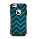 The Teal Grunge Chevron Pattern Apple iPhone 6 Otterbox Commuter Case Skin Set