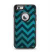 The Teal Grunge Chevron Pattern Apple iPhone 6 Otterbox Defender Case Skin Set