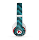 The Teal Grunge Chevron Pattern Skin for the Beats by Dre Studio (2013+ Version) Headphones