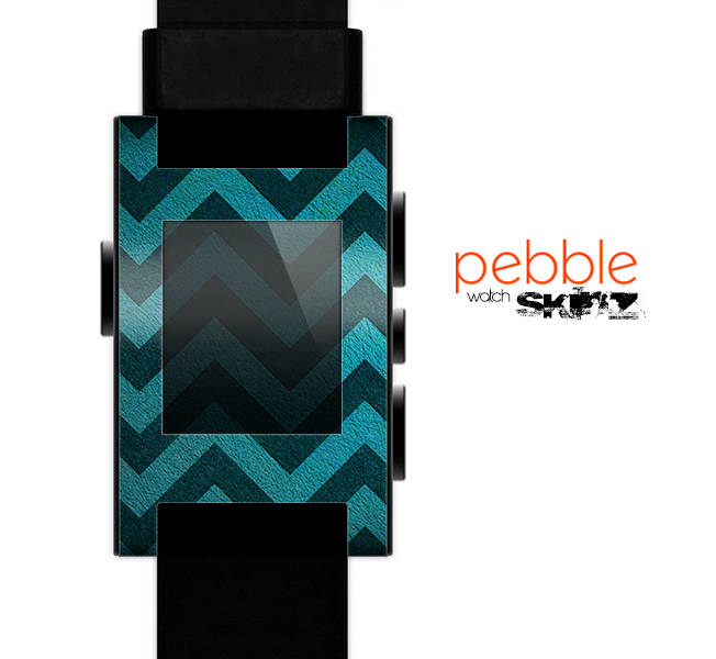 The Teal Grunge Chevron Pattern Skin for the Pebble SmartWatch