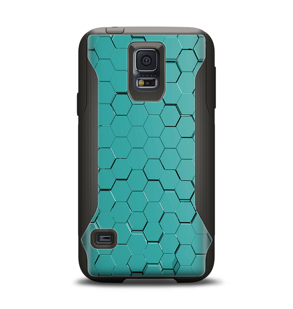 The Teal Hexagon Pattern Samsung Galaxy S5 Otterbox Commuter Case Skin Set