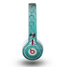The Teal Hexagon Pattern Skin for the Beats by Dre Mixr Headphones
