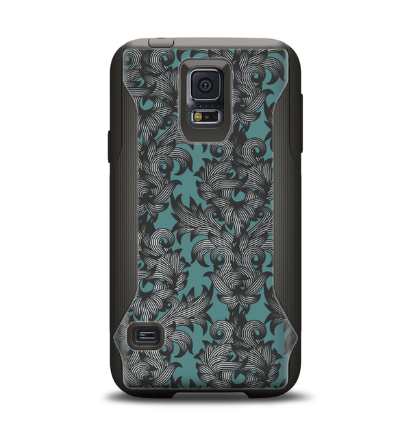 The Teal Leaf Foliage Pattern Samsung Galaxy S5 Otterbox Commuter Case Skin Set