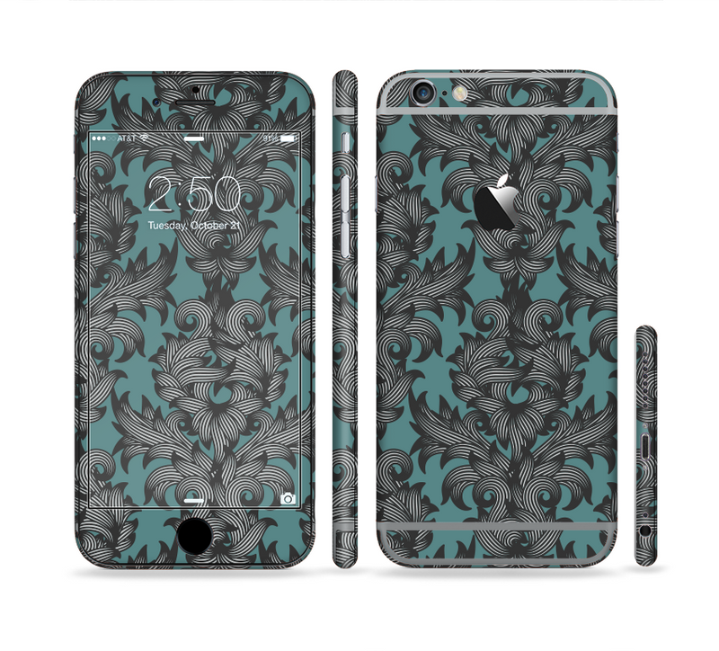 The Teal Leaf Foliage Pattern Sectioned Skin Series for the Apple iPhone 6