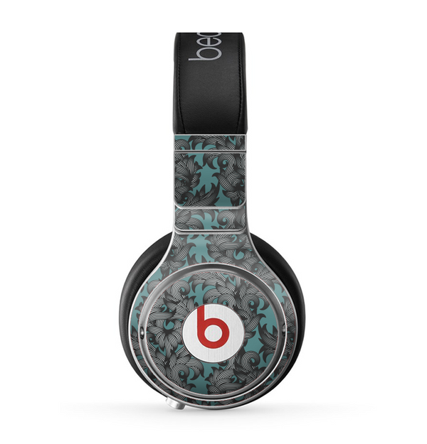 The Teal Leaf Foliage Pattern Skin for the Beats by Dre Pro Headphones