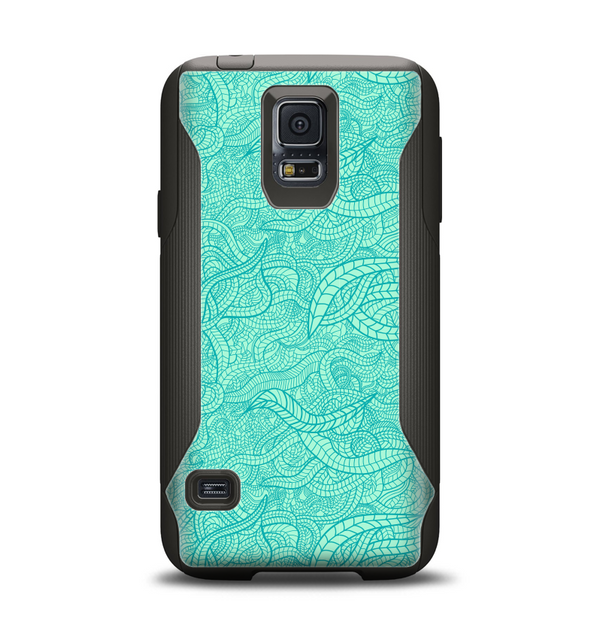The Teal Leaf Laced Pattern Samsung Galaxy S5 Otterbox Commuter Case Skin Set