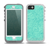 The Teal Leaf Laced Pattern Skin for the iPhone 5-5s OtterBox Preserver WaterProof Case