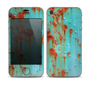 The Teal Painted Rustic Metal Skin for the Apple iPhone 4-4s