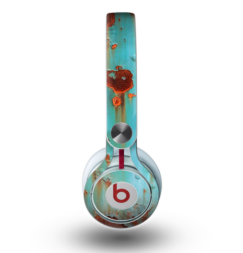 The Teal Painted Rustic Metal Skin for the Beats by Dre Mixr Headphones
