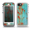 The Teal Painted Rustic Metal Skin for the iPhone 5-5s OtterBox Preserver WaterProof Case