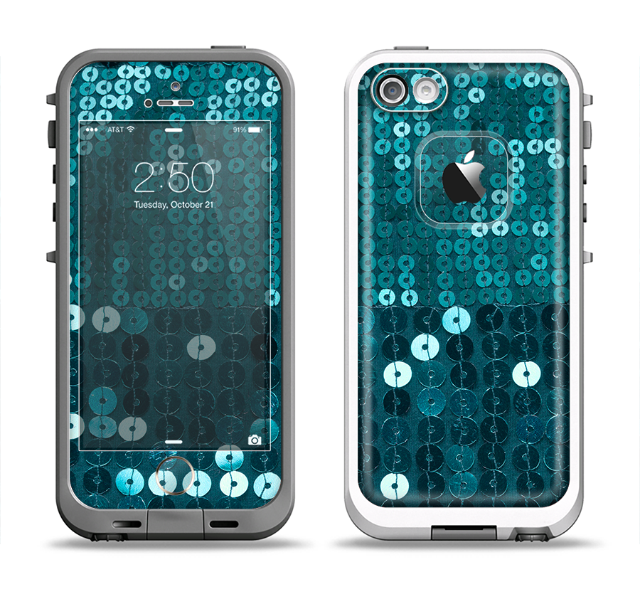 The Teal Sequences Apple iPhone 5-5s LifeProof Fre Case Skin Set