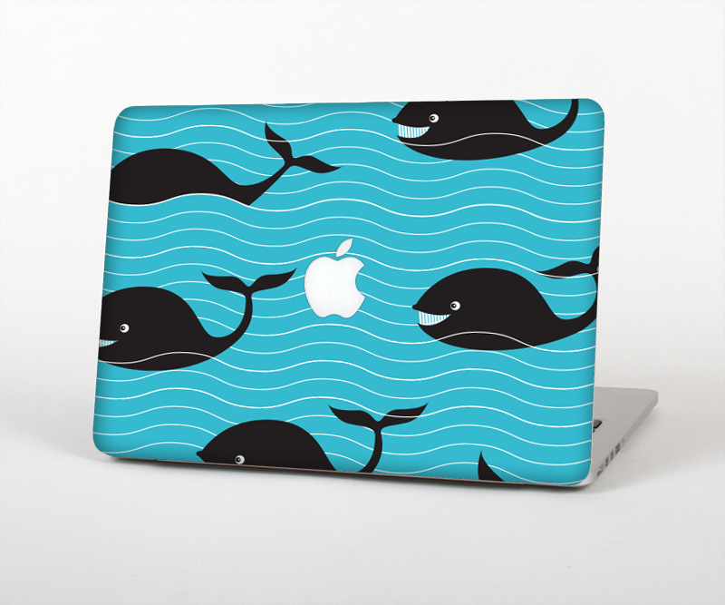 "The Teal Smiling Black Whale Pattern Skin Set for the Apple MacBook Pro 15"" with Retina Display"