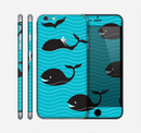 The Teal Smiling Black Whale Pattern Skin for the Apple iPhone 6 Plus