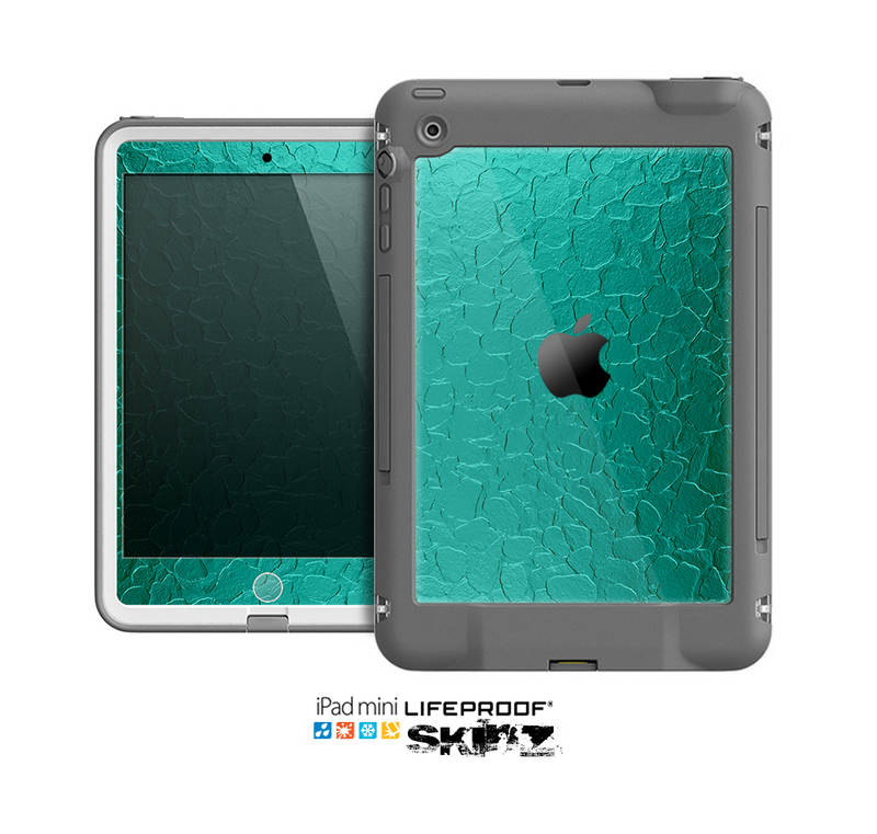The Teal Stamped Texture Skin for the Apple iPad Mini LifeProof Case