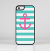 The Teal Striped Pink Anchor Skin-Sert for the Apple iPhone 5c Skin-Sert Case