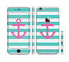 The Teal Striped Pink Anchor Sectioned Skin Series for the Apple iPhone 6 Plus