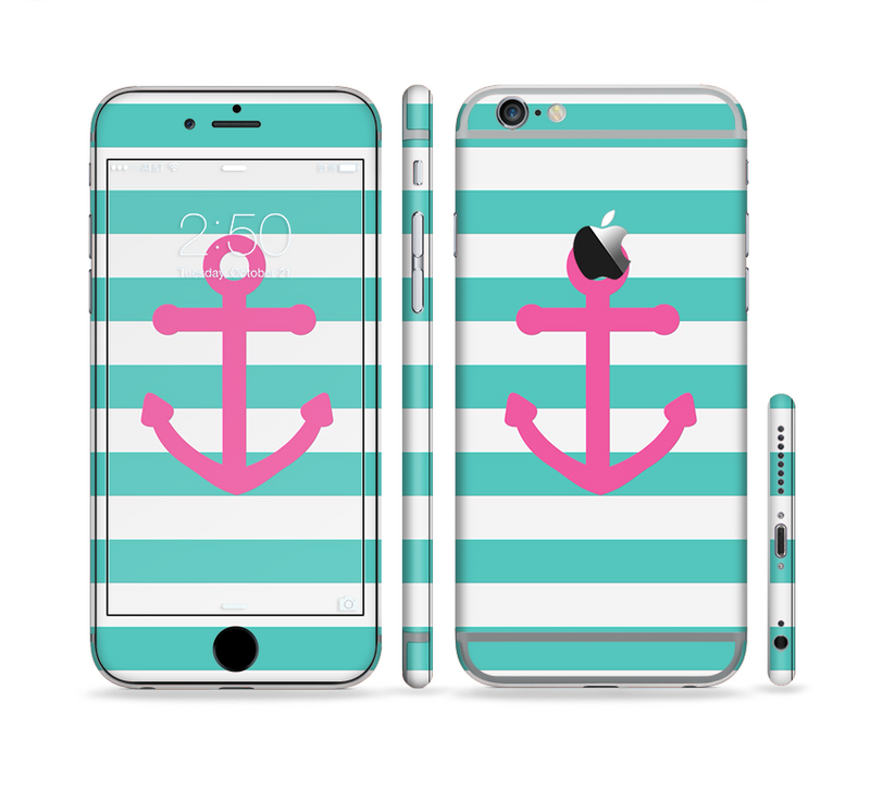 The Teal Striped Pink Anchor Sectioned Skin Series for the Apple iPhone 6