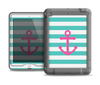 The Teal Striped Pink Anchor Apple iPad Air LifeProof Nuud Case Skin Set