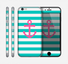 The Teal Striped Pink Anchor Skin for the Apple iPhone 6