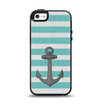 The Teal Stripes with Gray Nautical Anchor Apple iPhone 5-5s Otterbox Symmetry Case Skin Set
