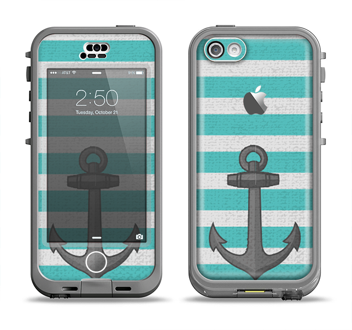 The Teal Stripes with Gray Nautical Anchor Apple iPhone 5c LifeProof Nuud Case Skin Set
