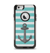 The Teal Stripes with Gray Nautical Anchor Apple iPhone 6 Otterbox Commuter Case Skin Set