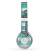 The Teal Stripes with Gray Nautical Anchor Skin for the Beats by Dre Solo 2 Headphones