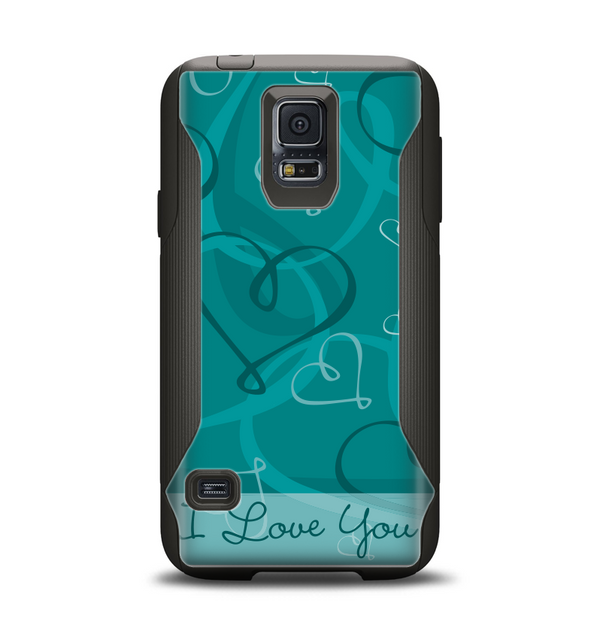 The Teal Swirly Vector Love Hearts Samsung Galaxy S5 Otterbox Commuter Case Skin Set