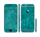 The Teal Swirly Vector Love Hearts Sectioned Skin Series for the Apple iPhone 6s