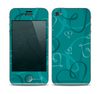 The Teal Swirly Vector Love Hearts Skin for the Apple iPhone 4-4s