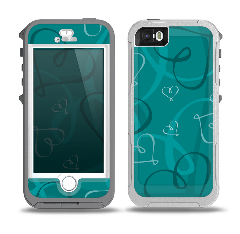 The Teal Swirly Vector Love Hearts Skin for the iPhone 5-5s OtterBox Preserver WaterProof Case