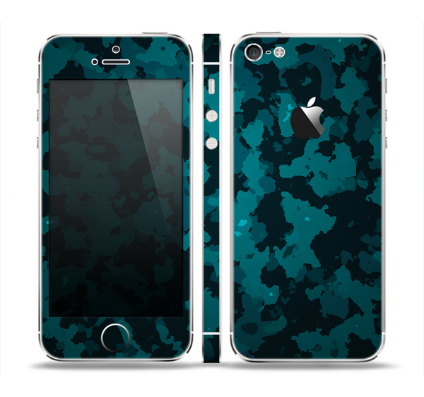 The Teal Vector Camo Skin Set for the Apple iPhone 5