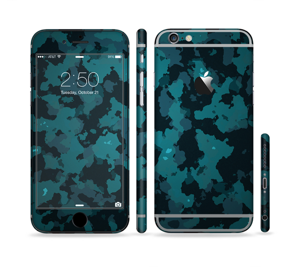 The Teal Vector Camo Sectioned Skin Series for the Apple iPhone 6 Plus