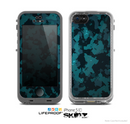 The Teal Vector Camo Skin for the Apple iPhone 5c LifeProof Case